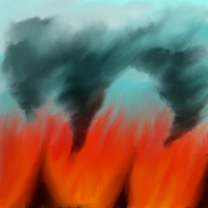 Letting the colours of your emotions flow onto paper may look like this. Firescape by wcmopp on deviantart.com